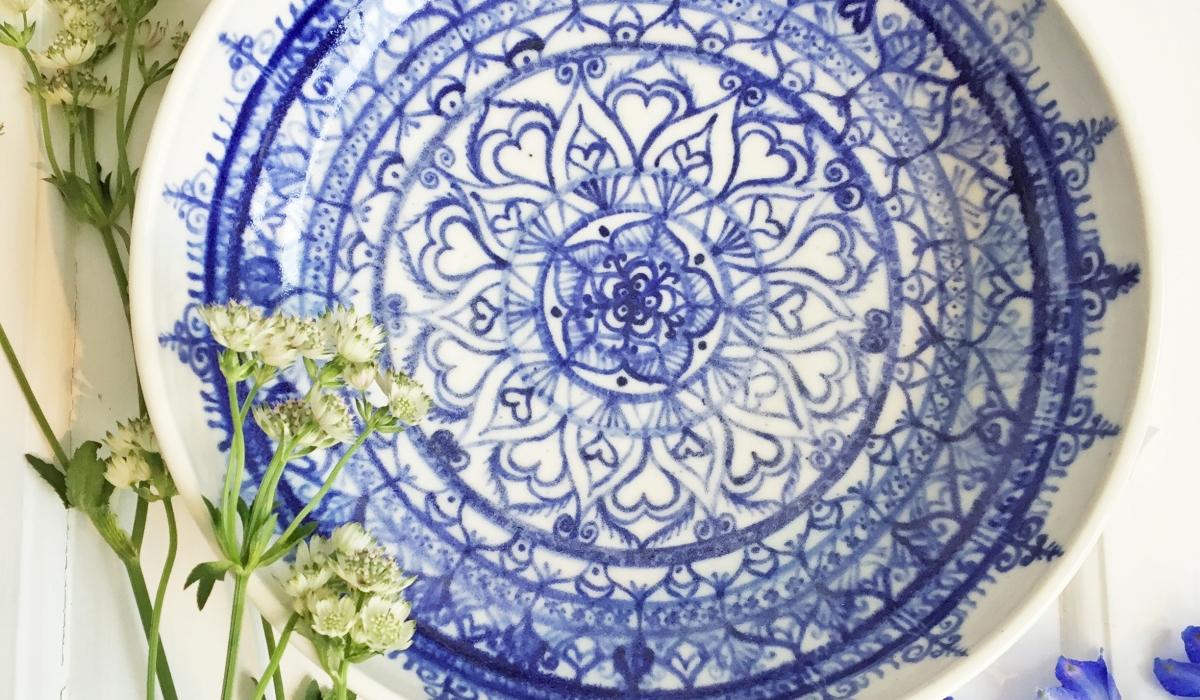blåvit mandala porslinsskål